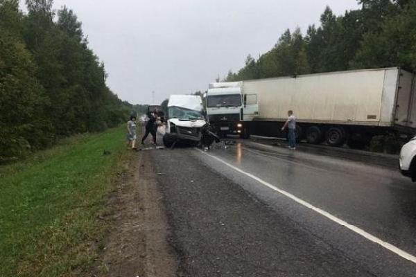 В Рассказовском районе столкнулись фура и микроавтобус: 8 человек пострадали