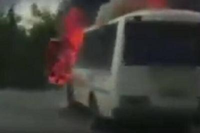 В Кирсанове загорелся пассажирский автобус